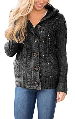99dfed66c93 Annflat Women's Hooded Cable Knit Button Down Cardigan Fleece ...