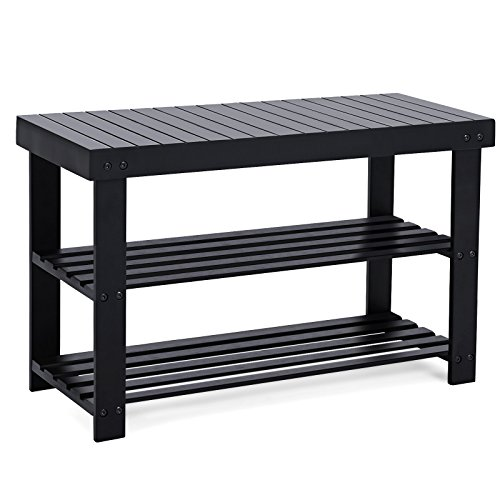 Welcome Your Guests With An Impeccably Organized Entryway: SONGMICS Entryway Bamboo Shoe Bench 2-Tier Shoe Rack